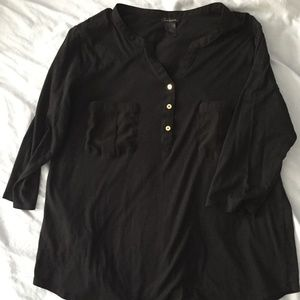 Ann Taylor XL black 3/4 sleeve knit shirt